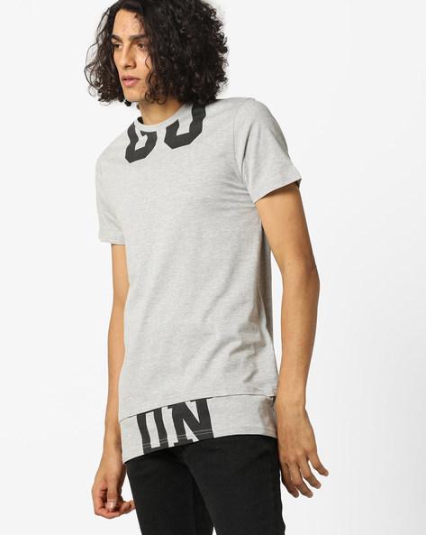 Printed Crew-Neck Longline T-shirt By AJIO ( Lightgreymelange )