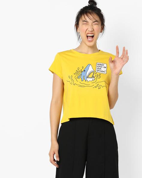 Graphic Print Crew-Neck T-Shirt By AJIO ( Yellow )