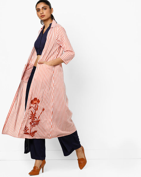 Open-Front Long Jacket With Embroidery By AJIO ( Coral )