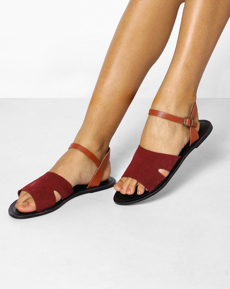 Suede Leather Flat Sandals With Ankle Straps By AJIO ( Burgundy )