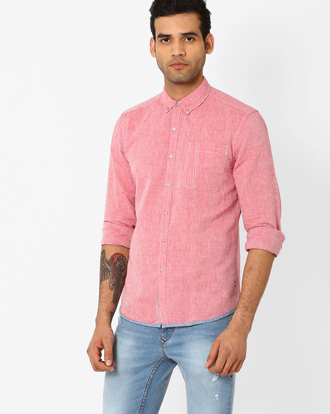 Slim Fit Shirt With Button-Down Collar By Lee ( Red )