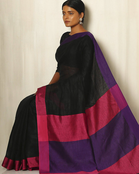 Handwoven Linen Saree With Cotton Contrast Border By Indie Picks ( Black )