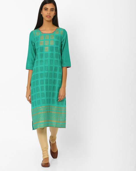 Printed Straight Kurta By AURELIA ( Green )