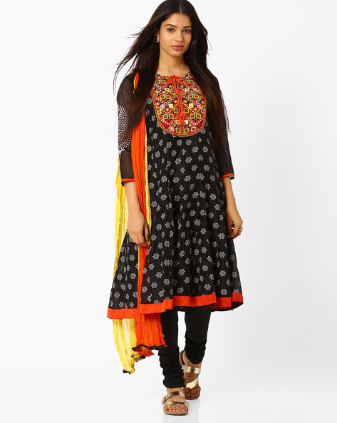 Printed Churidar Kurta With Dupatta By Trishaa By Pantaloons ( Black )