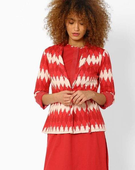 Ikat Jacket With Waist Tie-Up By AJIO ( Coral )