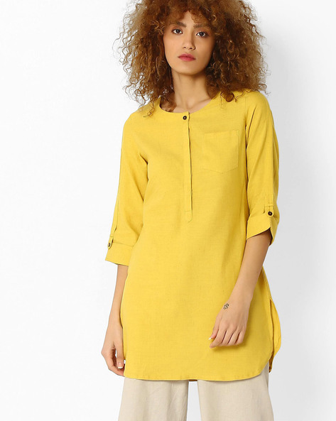 Straight Kurti With Patch Pocket By Avaasa Ariah ( Mustard )