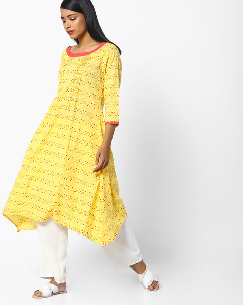 Block Print A-Line Kurta With Dipped Hem By AJIO ( Yellow )