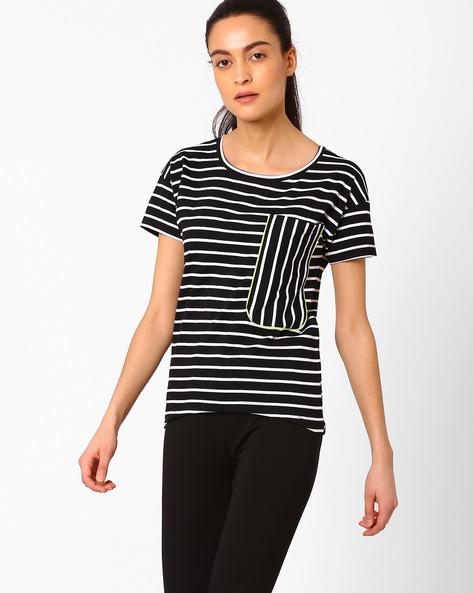 Striped Top With Patch Pocket By AJIO ( Black )
