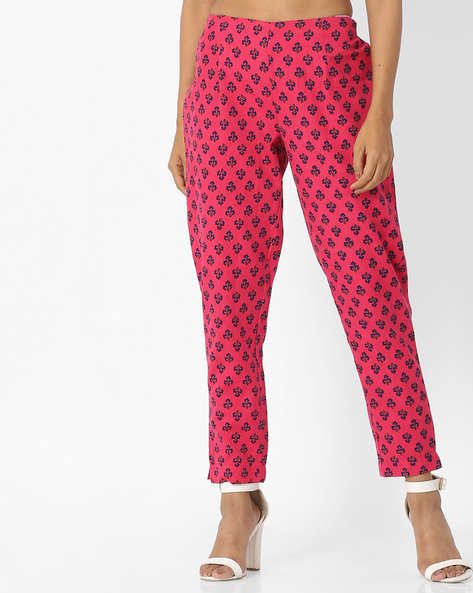 Pants With Floral Block Print By Arah ( Pink )