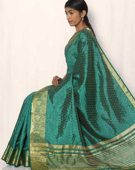 Embossed Design Art Silk Saree By Rudrakaashe-MSU ( Darkgreen )