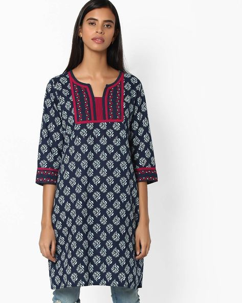 Printed Straight Kurta By Jiyaa ( Indigo )