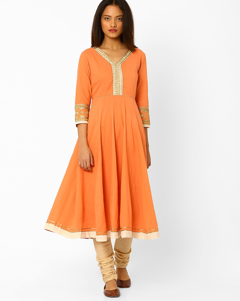 Anarkali Churidar Kurta With Dupatta By AJIO ( Rust )