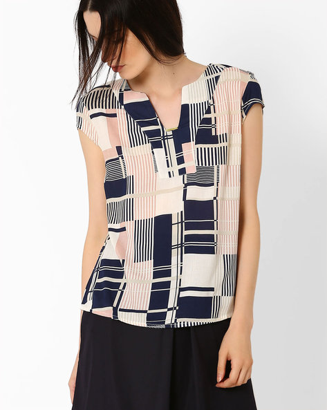Printed Top With Cap Sleeves By AJIO ( Navyblue )