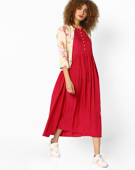Polka-Dot Print Dress With Jacket By Jiyaa ( Fuchsia )