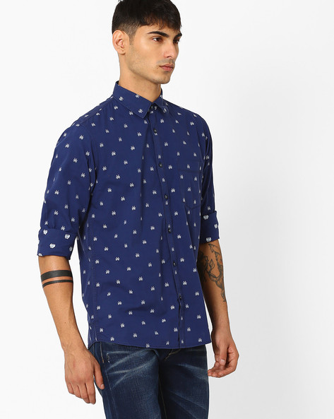Slim Fit Shirt With Embroidered Motifs By CRIMSOUNE CLUB ( Navy )