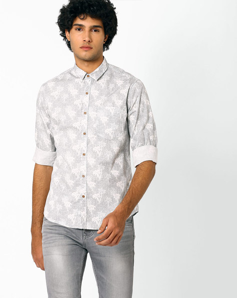 Tropical Print Slim Fit Shirt By AJIO ( Grey )