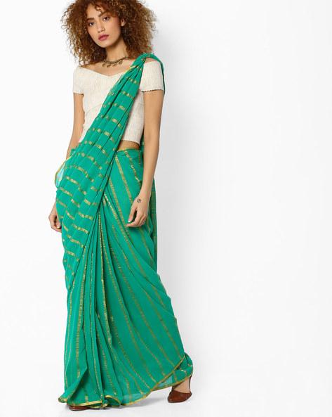 Striped Saree With Zari Border By Amori ( Green )