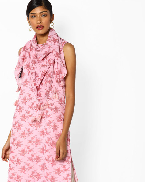 Floral Print Stole With Tassels By AJIO ( Peach )