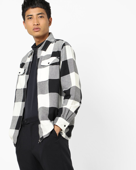 Checked Shirt With Flap Pockets By ADAMO LONDON ( White )