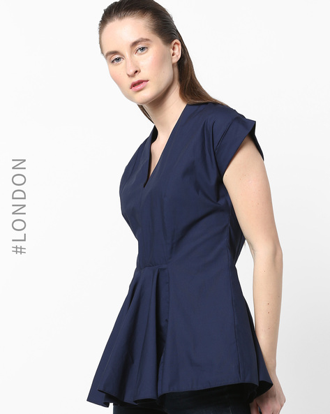 V-neck Peplum Top By Closet London ( Navyblue )