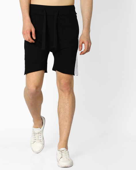 Drop-Crotch Shorts With Contrast Panels By ADAMO LONDON ( Black )