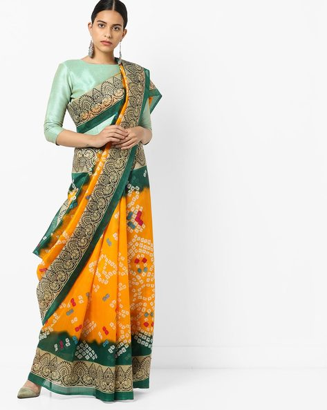 Printed Saree With Contrast Border By Florence ( Yellow )