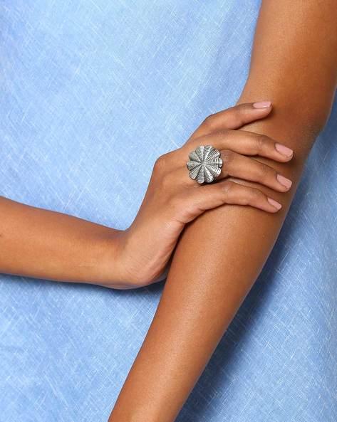 Oxidised Metal Statement Ring By Indie Picks ( Silver ) - 460046701001