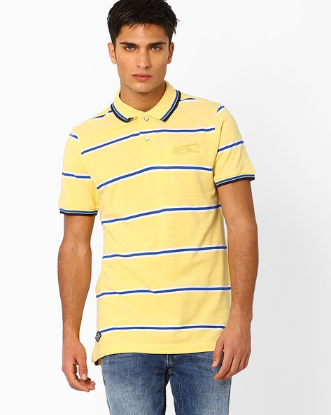 Striped Knit Polo T-shirt By TEAM SPIRIT ( Yellow )