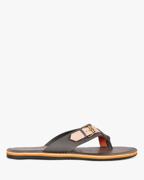 Colourblock Toe-Ring Slippers With Buckle Detail By Estd.1977 ( Grey )