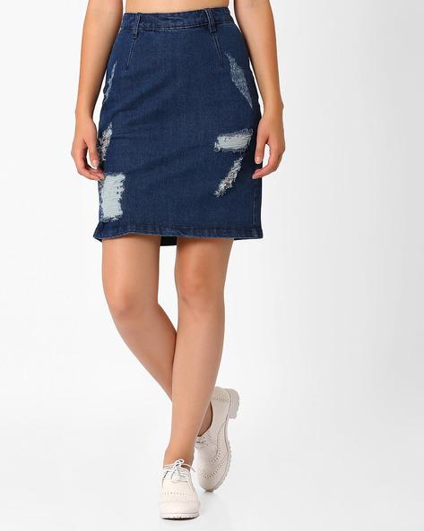 Distressed Denim Skirt By AJIO ( Blue )