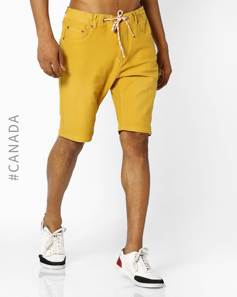 Knit Denim Shorts With Drawstring Fastening By Point Zero ( Canary )