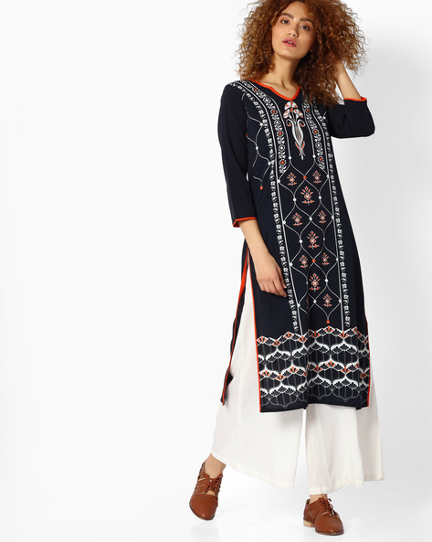 Printed Straight Kurta By Indian Ink ( Black )