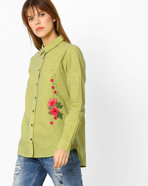 Shirt With Floral Embroidery By Sassafras ( Green )