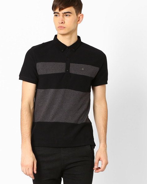 Slim Fit Colourblock T-shirt By VOI JEANS ( Black )