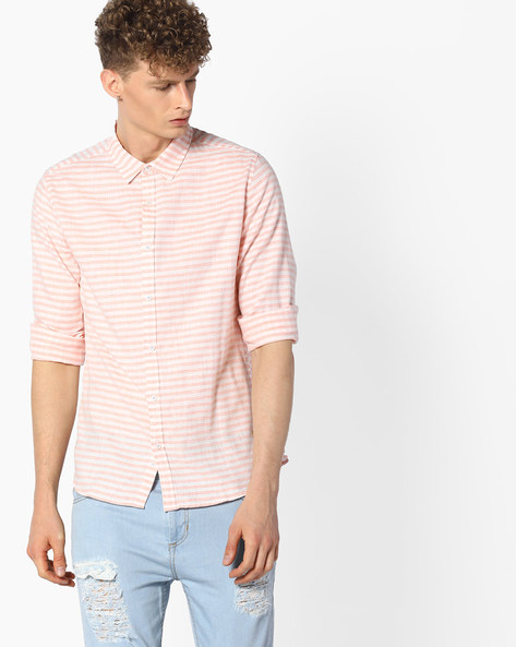 Striped Cotton Slub Shirt By UNITED COLORS OF BENETTON ( Pink )