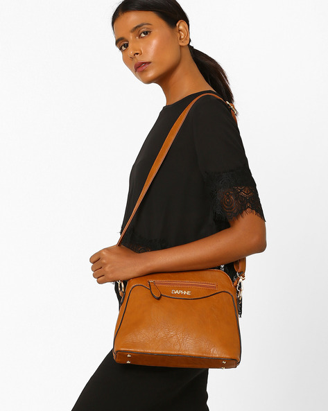 Panelled Sling Bag By Daphne ( Brown )