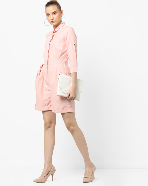 Playsuit With Shirt Collar By AJIO ( Peach )
