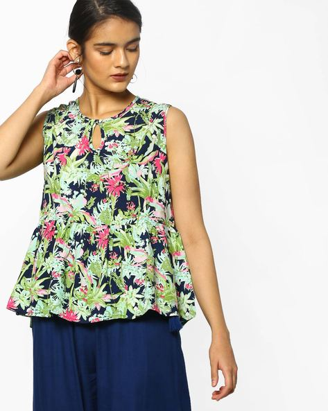 Floral Print Peplum Top By PE WW Casual ( Green )