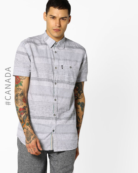 Semi Fit Striped Shirt With Patch Pocket By Point Zero ( Coal )