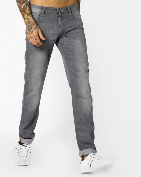Lightly Washed Slim Fit Jeans By JOHN PLAYERS ( Mediumblue )