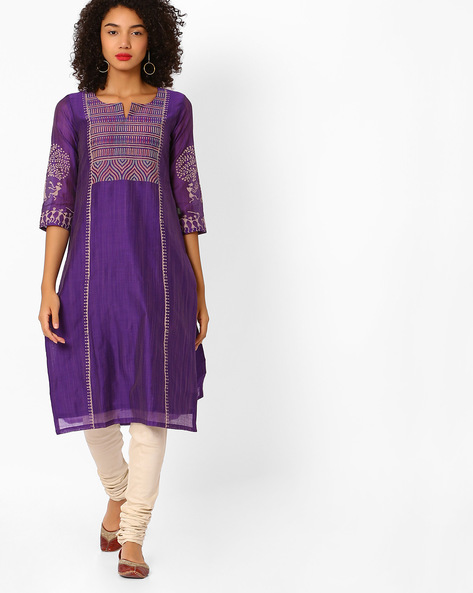 Printed Cotton Straight Kurta By KIMONO ( Purple )