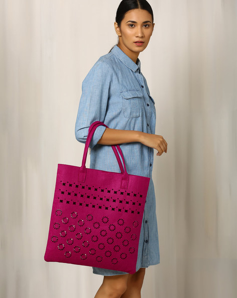 Felt Floral Cutwork Tote Bag By Indie Picks ( Red )