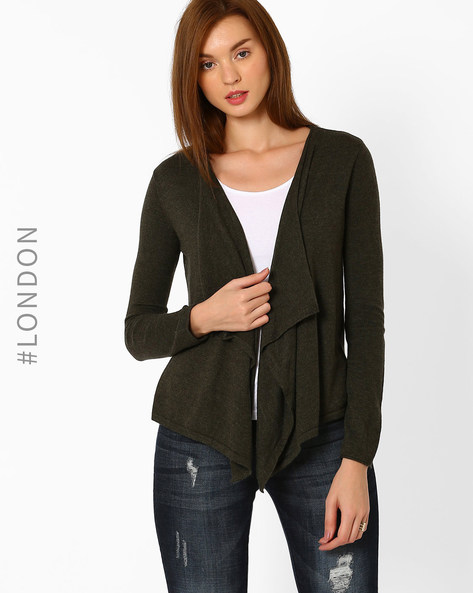Knitted Waterfall Cardigan By Marks & Spencer ( Khaki )