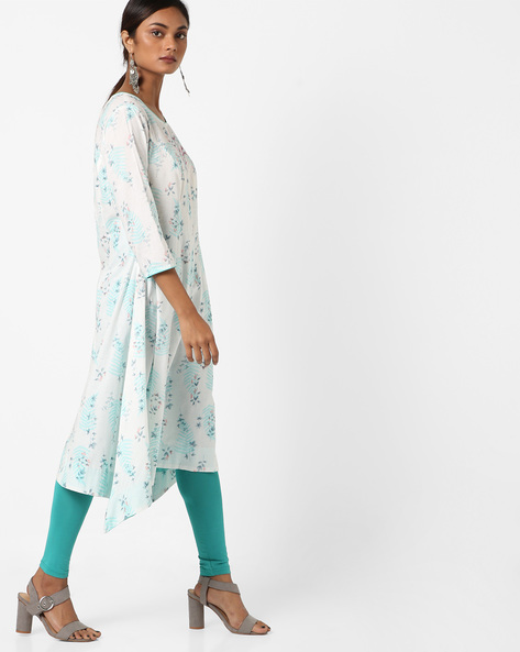 Printed A-line Kurta With Asymmetric Hem By AJIO ( Blue )