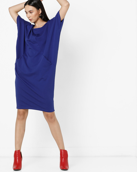 Panelled Shift Dress With Raglan Sleeves By Project Eve WW Athleisure ( Blue )