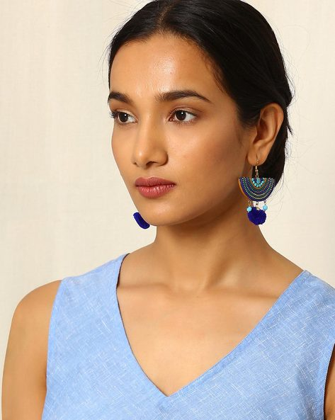 Crescent-Shaped Beaded Drop-Earrings By Indie Picks ( Multi )