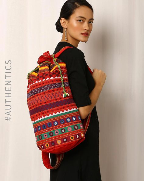 Lambani Embroidered Cotton Backpack Bag By Indie Picks ( Multi )