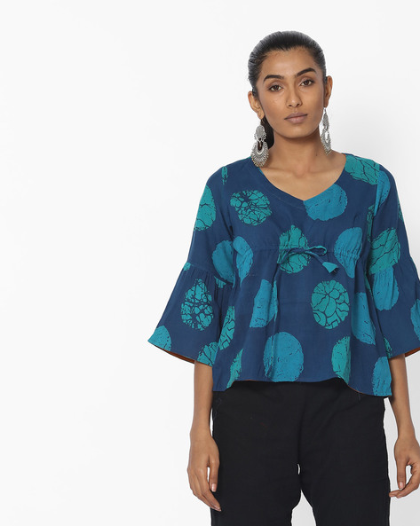 Printed Top With Bell Sleeves By Desi Weaves ( Blue )