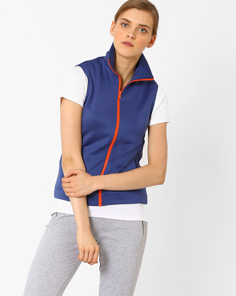 Sleeveless Scuba Jacket With Contrast Front Zipper By AJIO ( Navyblue )