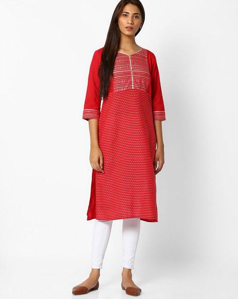Straight Cotton Kurta By AURELIA ( Red )